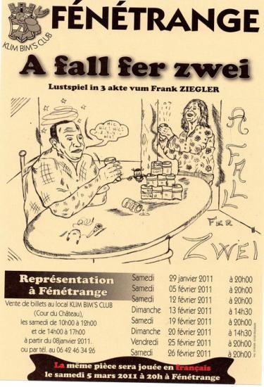 """affiche de la nouvelle pièce """" A fall fer zwei"""" de Franck ZIEGLER"""""""